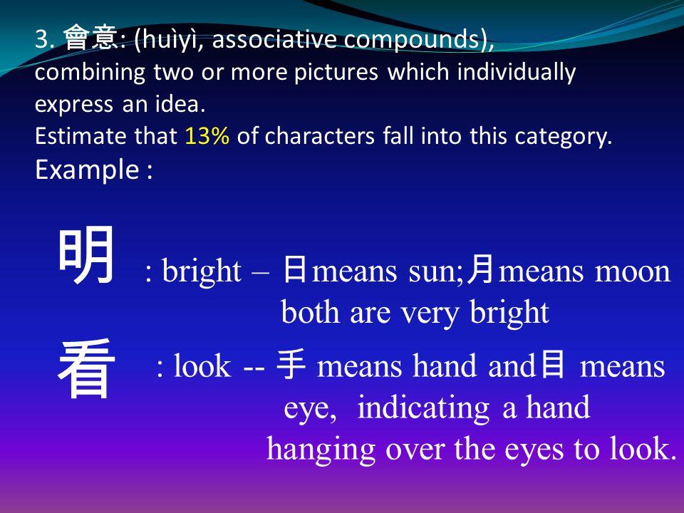 3. 會意 : (huìyì, associative compounds), combining two or more pictures which individually express an idea. Estimate that 13% of characters fall into t
