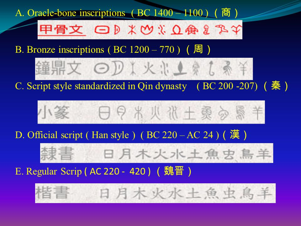 A. Oracle-bone inscriptions ( BC 1400 – 1100 ) (商) B.