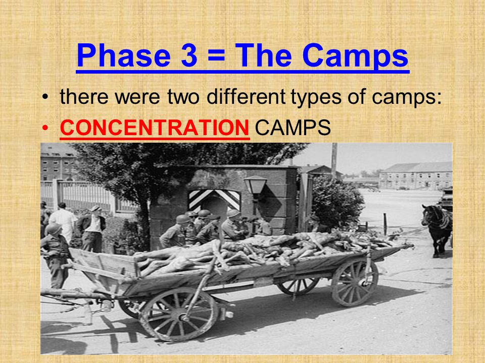 Phase 3 = The Camps there were two different types of camps: CONCENTRATION CAMPS