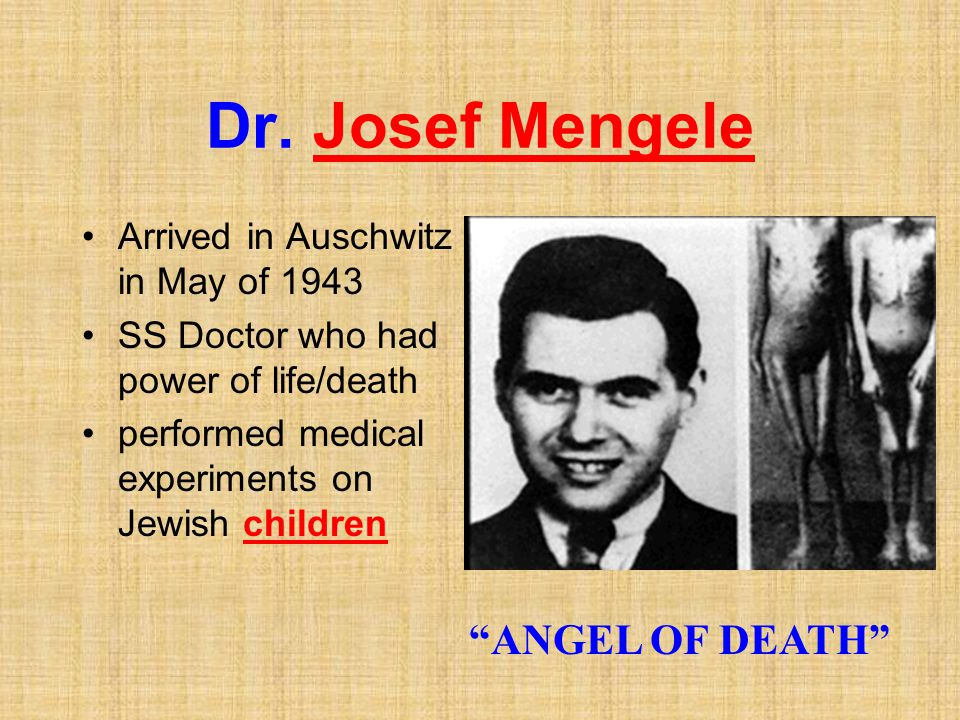 "Dr. Josef Mengele Arrived in Auschwitz in May of 1943 SS Doctor who had power of life/death performed medical experiments on Jewish children ""ANGEL OF"