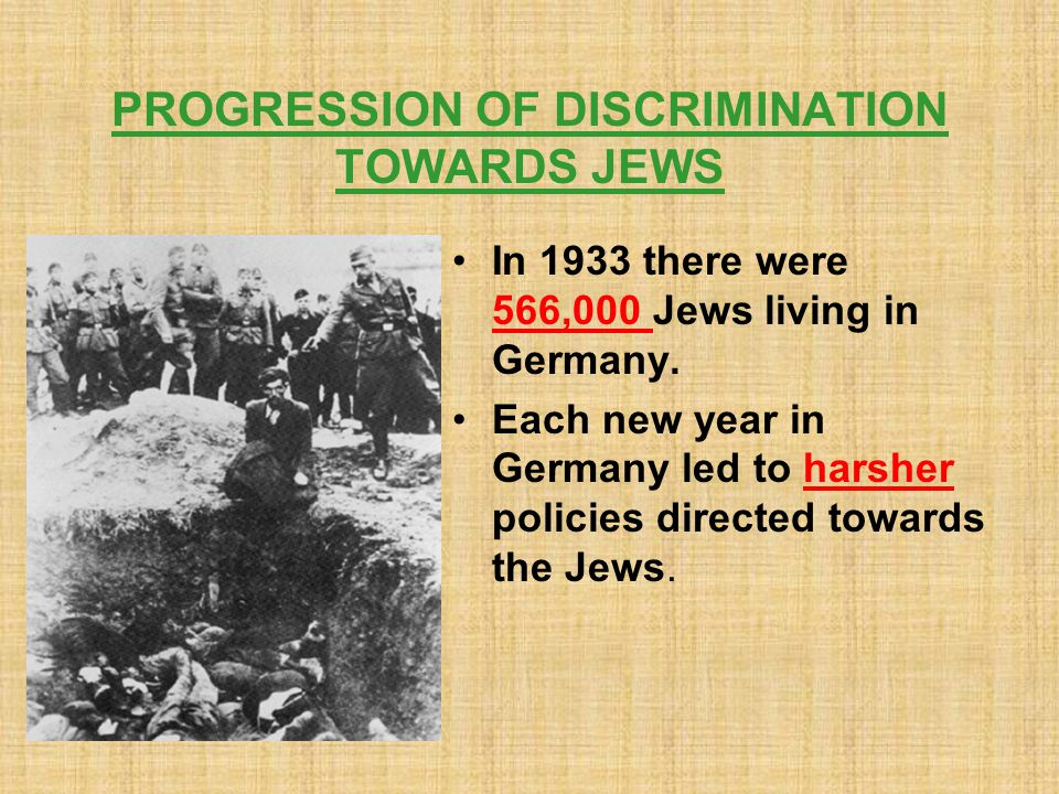 PROGRESSION OF DISCRIMINATION TOWARDS JEWS In 1933 there were 566,000 Jews living in Germany.