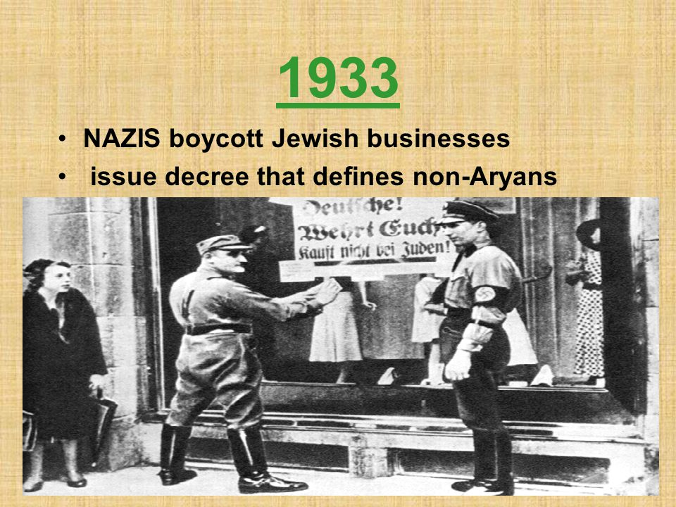 1933 NAZIS boycott Jewish businesses issue decree that defines non-Aryans