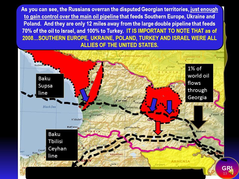 1% of world oil flows through Georgia Baku Supsa line Baku Tbilisi Ceyhan line GRI 12 Baku pipelines Copyright 2008 Roger K. Young--All Rights Reserve