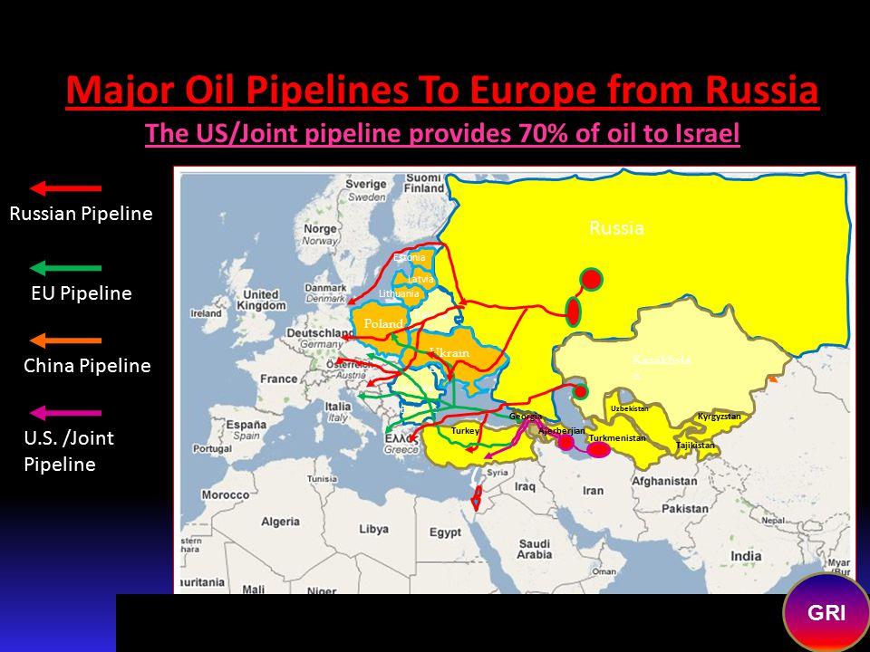 Major Oil Pipelines To Europe from Baku/Caspian Sea Region EU Pipeline Russian Pipeline China Pipeline Russia Romania Bulgaria Belarus Kazakhsta n Uzb