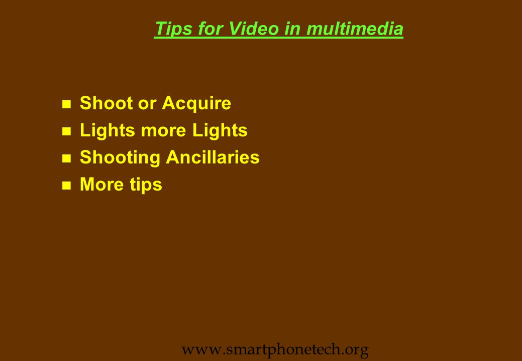 Video Compression Techniques and Standards n JPEG & M-JPEG (intra frame) n H.261 (intra frame) n MPEG-1 n MPEG-2 n MPEG-4 www.smartphonetech.org