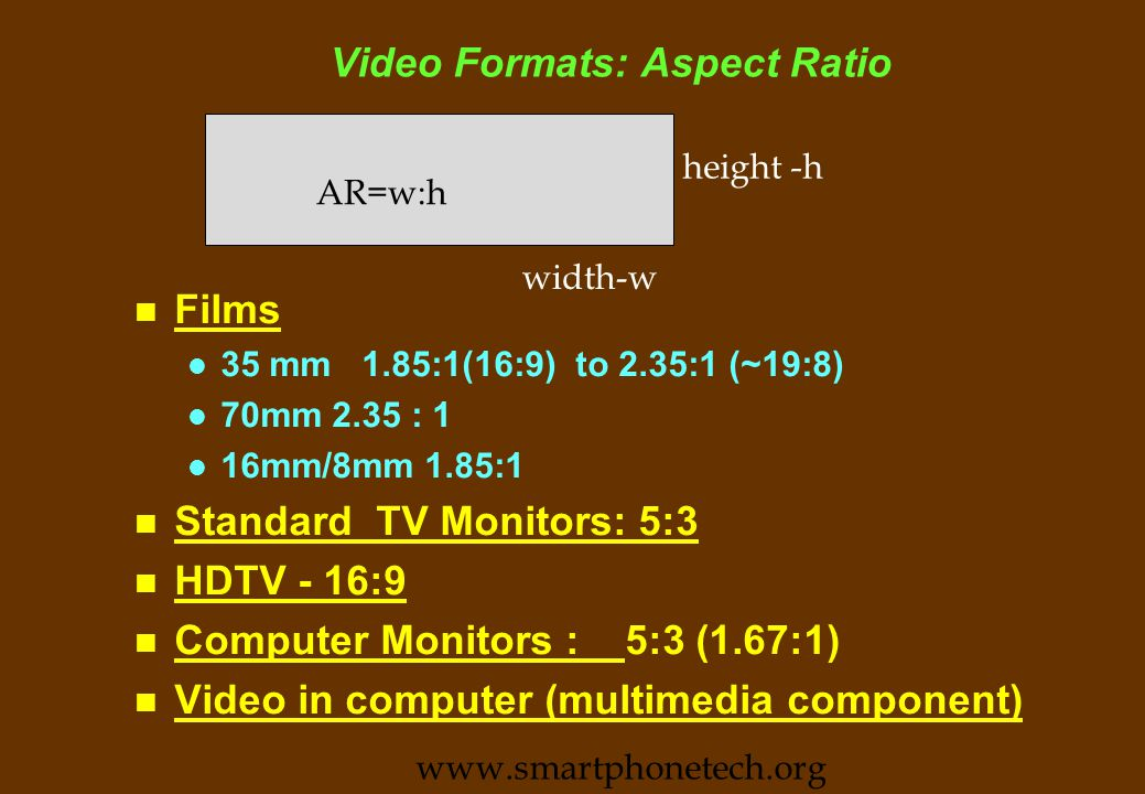 Video Formats: Lines, Frames and Fields (contd) n Interlacing l Reduces Broadcast bandwidth (by transmitting only half the lines per field) l Reduces flicker as fields are updated 50/60 fields /sec.