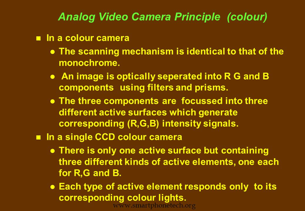 Analog Video Camera Principle (monochrome) n The scans are synchronised with V and H sync signals generated from a stable source.
