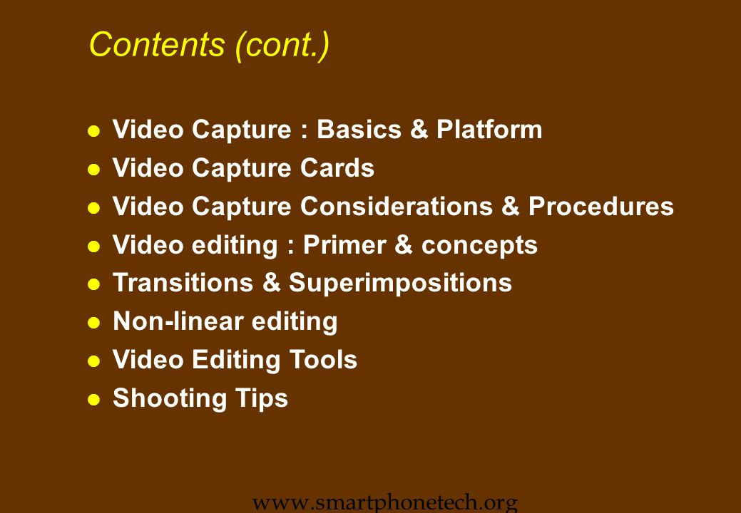 Source for Motion Video Objects n Computer Files l Only form usable in Multimedia.