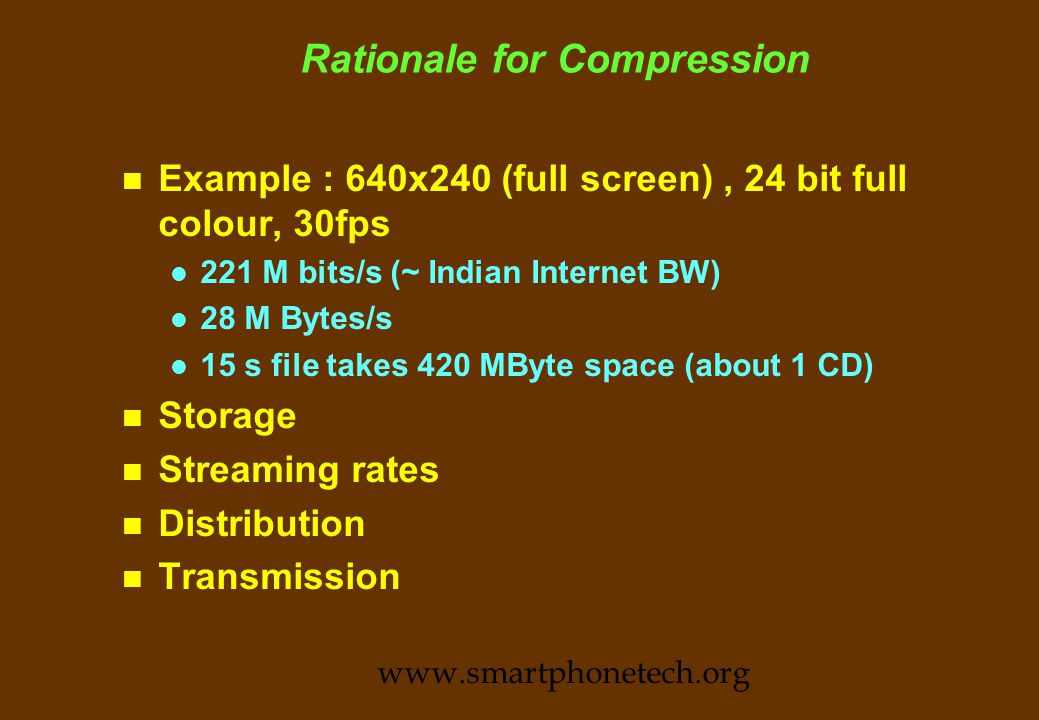 Pixel Arrays 120 240 483 600 720 900 1080 160352720800115212801920 QSIF (19kp) SIF (82 kp) 601 (300kp) SVGA (500kp) ATP (1Mp) Workstation (1 Mp) HDTV (2Mp) www.smartphonetech.org