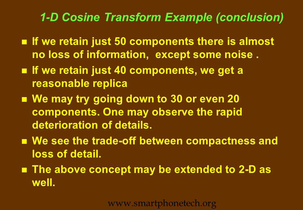 1-D Cosine Transform Example (contd): 30 Vs 20 www.smartphonetech.org