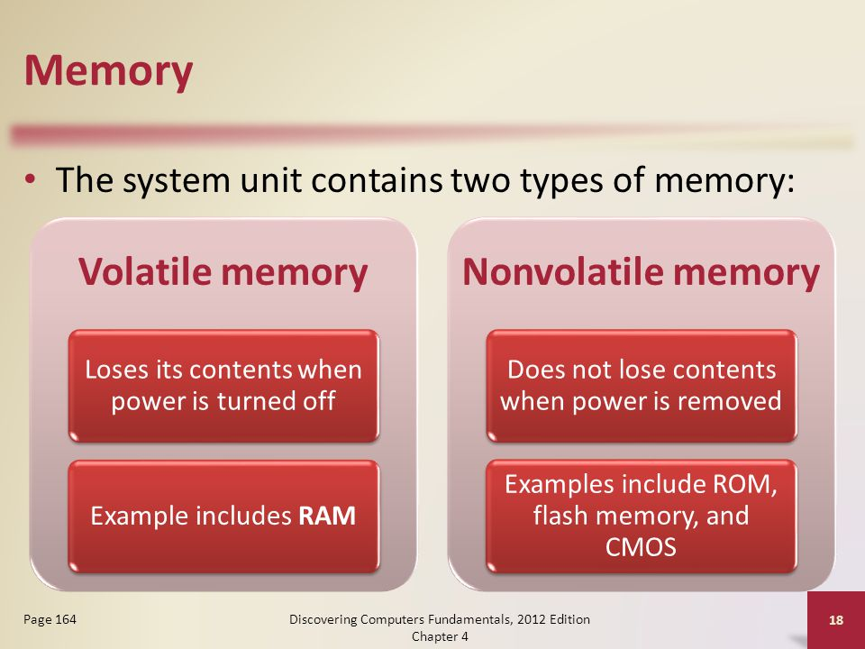 Memory The system unit contains two types of memory: Discovering Computers Fundamentals, 2012 Edition Chapter 4 18 Page 164 Volatile memory Loses its contents when power is turned off Example includes RAM Nonvolatile memory Does not lose contents when power is removed Examples include ROM, flash memory, and CMOS