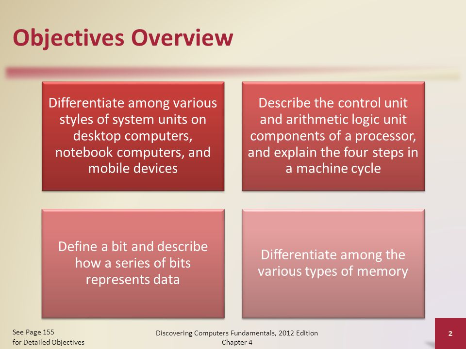 Objectives Overview Differentiate among various styles of system units on desktop computers, notebook computers, and mobile devices Describe the control unit and arithmetic logic unit components of a processor, and explain the four steps in a machine cycle Define a bit and describe how a series of bits represents data Differentiate among the various types of memory Discovering Computers Fundamentals, 2012 Edition Chapter 4 2 See Page 155 for Detailed Objectives