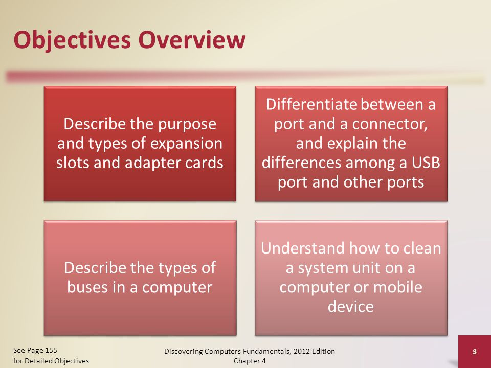 Objectives Overview Describe the purpose and types of expansion slots and adapter cards Differentiate between a port and a connector, and explain the differences among a USB port and other ports Describe the types of buses in a computer Understand how to clean a system unit on a computer or mobile device Discovering Computers Fundamentals, 2012 Edition Chapter 4 3 See Page 155 for Detailed Objectives