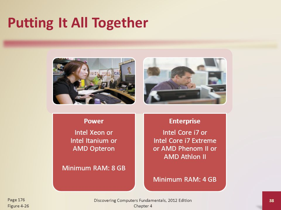 Putting It All Together Power Intel Xeon or Intel Itanium or AMD Opteron Minimum RAM: 8 GB Enterprise Intel Core i7 or Intel Core i7 Extreme or AMD Phenom II or AMD Athlon II Minimum RAM: 4 GB Discovering Computers Fundamentals, 2012 Edition Chapter 4 38 Page 176 Figure 4-26