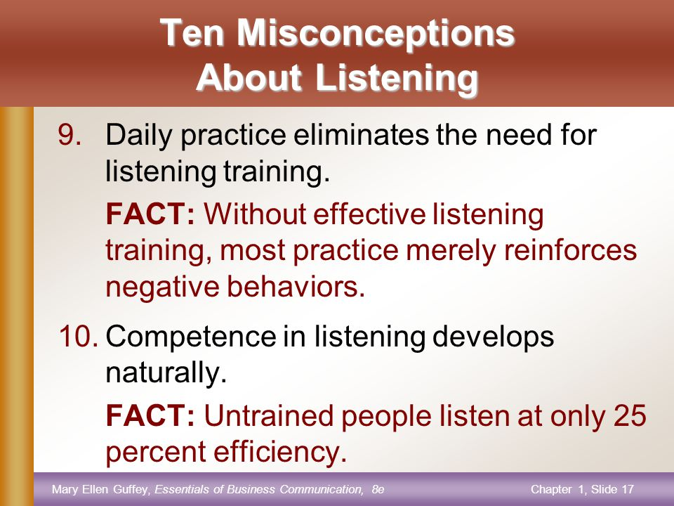 Mary Ellen Guffey, Essentials of Business Communication, 8eChapter 1, Slide 17 Ten Misconceptions About Listening 9.Daily practice eliminates the need for listening training.