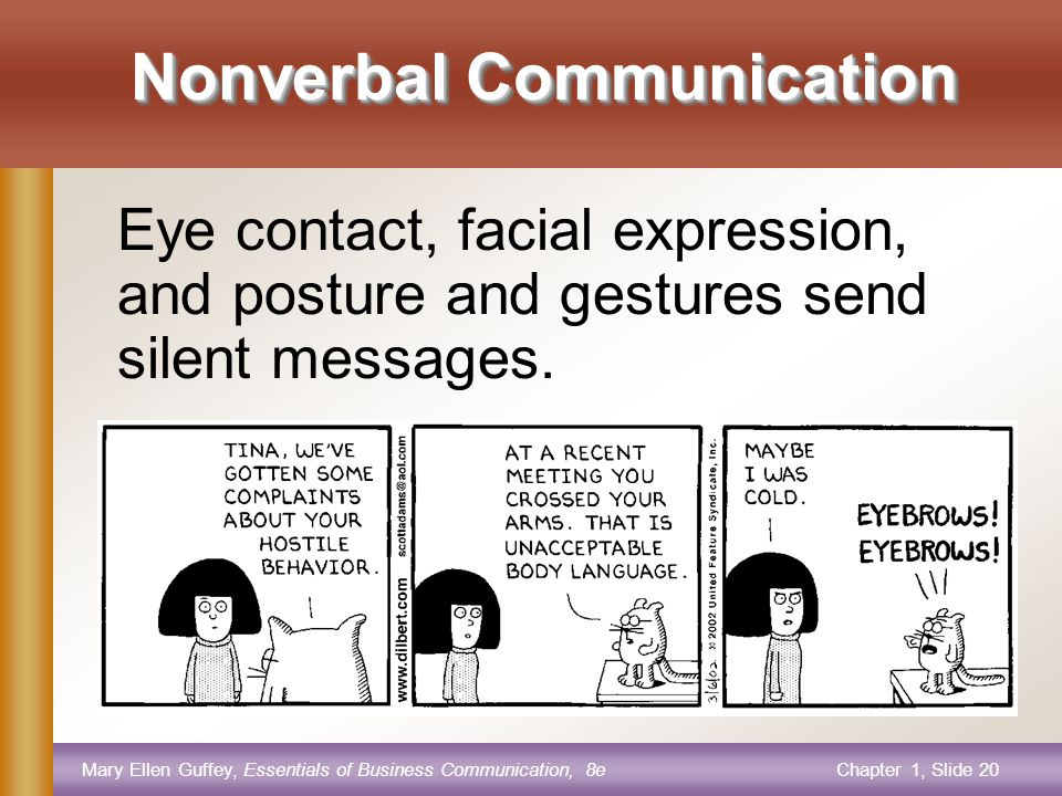 Mary Ellen Guffey, Essentials of Business Communication, 8eChapter 1, Slide 20 Nonverbal Communication Eye contact, facial expression, and posture and gestures send silent messages.