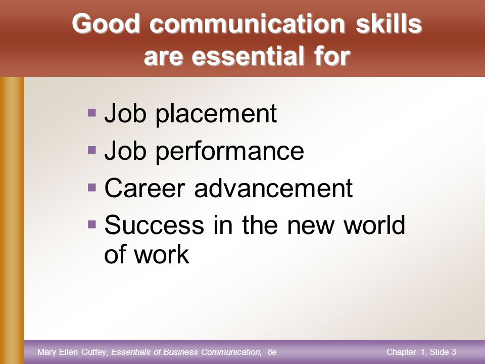 Mary Ellen Guffey, Essentials of Business Communication, 8eChapter 1, Slide 3 Good communication skills are essential for  Job placement  Job performance  Career advancement  Success in the new world of work