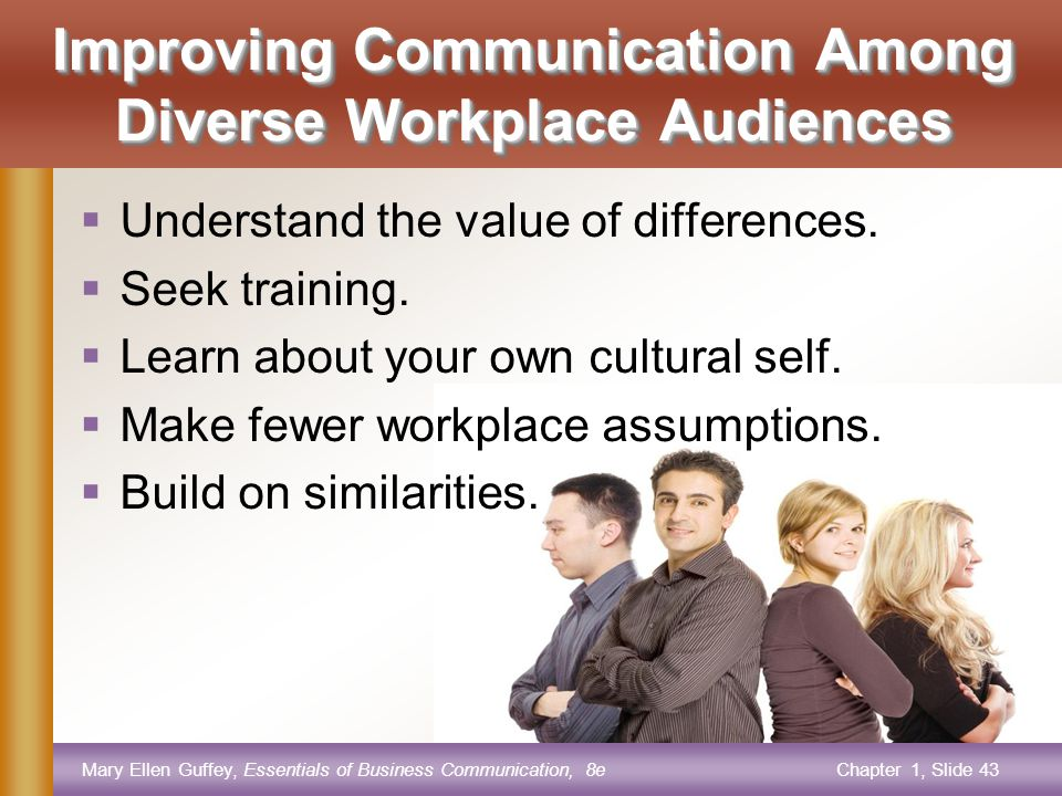 Mary Ellen Guffey, Essentials of Business Communication, 8eChapter 1, Slide 43 Improving Communication Among Diverse Workplace Audiences  Understand the value of differences.