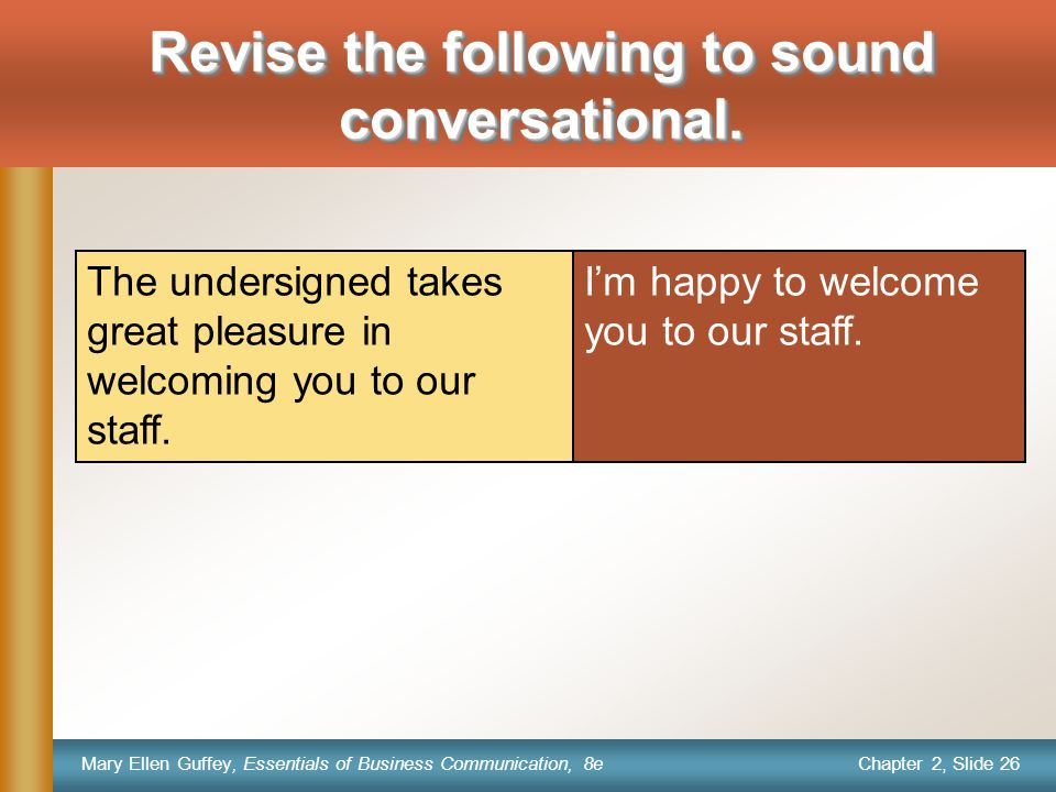 Chapter 2, Slide 26 Mary Ellen Guffey, Essentials of Business Communication, 8e I'm happy to welcome you to our staff.