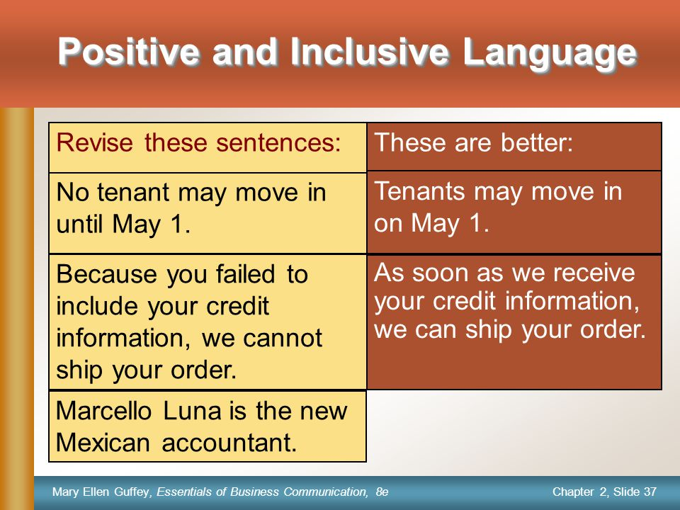 Chapter 2, Slide 37 Mary Ellen Guffey, Essentials of Business Communication, 8e These are better: Tenants may move in on May 1.