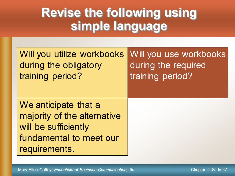 Chapter 2, Slide 47 Mary Ellen Guffey, Essentials of Business Communication, 8e Will you use workbooks during the required training period.