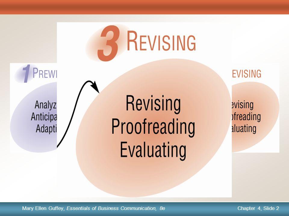 Chapter 1, Slide 2 Mary Ellen Guffey, Essentials of Business Communication, 8e Chapter 4, Slide 2 Mary Ellen Guffey, Essentials of Business Communication, 8e The Writing Process