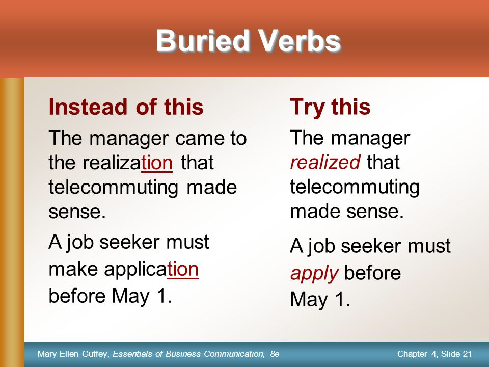 Chapter 4, Slide 21 Mary Ellen Guffey, Essentials of Business Communication, 8e Instead of this The manager came to the realization that telecommuting made sense.