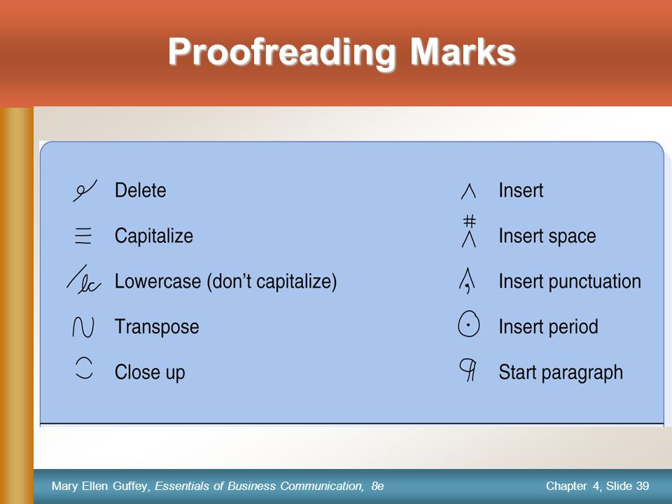 Chapter 4, Slide 39 Mary Ellen Guffey, Essentials of Business Communication, 8e Proofreading Marks