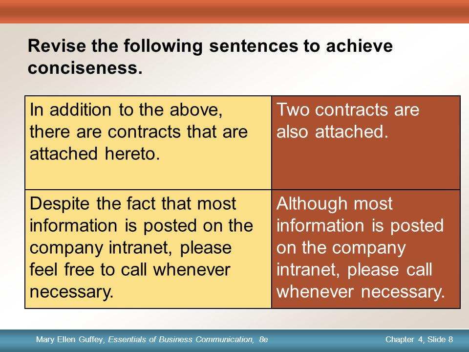 Chapter 1, Slide 8 Mary Ellen Guffey, Essentials of Business Communication, 8e Chapter 4, Slide 8 Mary Ellen Guffey, Essentials of Business Communication, 8e Quick Check Revise the following sentences to achieve conciseness.