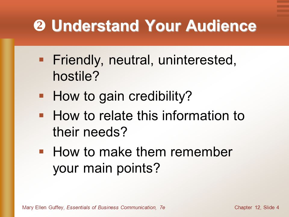 Chapter 12, Slide 4Mary Ellen Guffey, Essentials of Business Communication, 7e Understand Your Audience  Understand Your Audience  Friendly, neutral, uninterested, hostile.