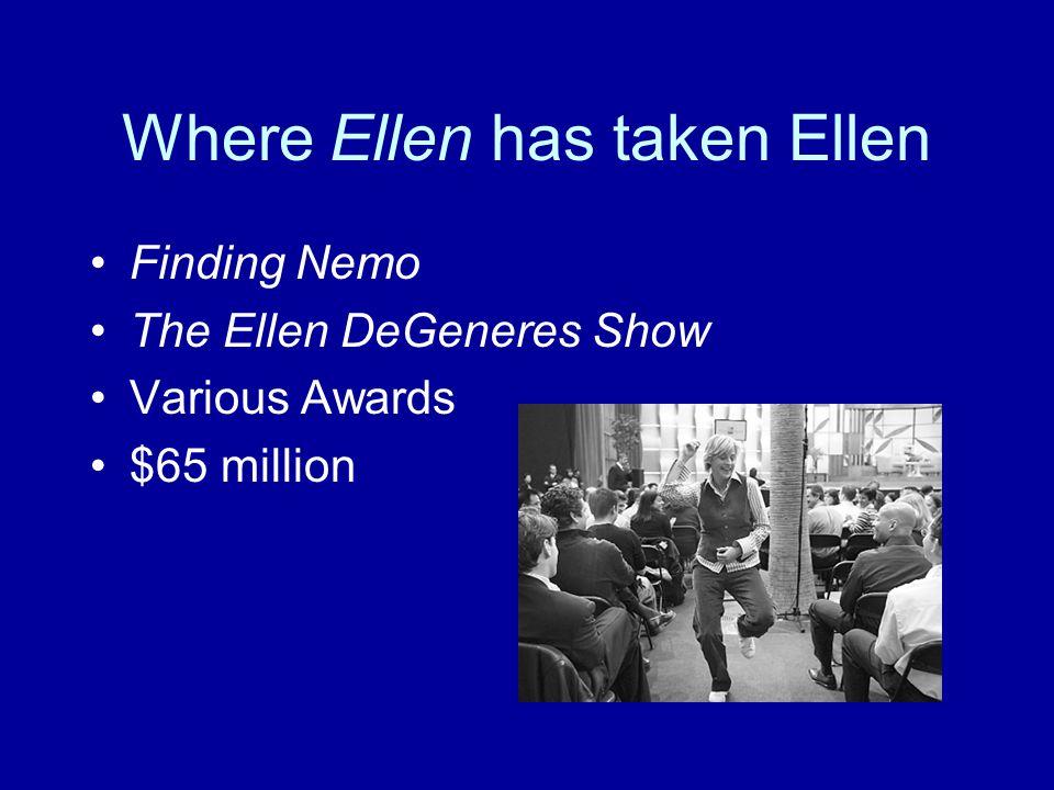 Where Ellen has taken Ellen Finding Nemo The Ellen DeGeneres Show Various Awards $65 million