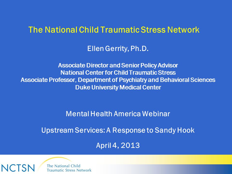 Child Traumatic Stress as a Public Health Problem Two of every three children will witness or experience a traumatic event before the age of 16 (Copeland et al., 2007).