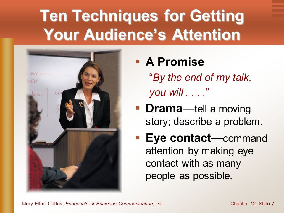 Chapter 12, Slide 7Mary Ellen Guffey, Essentials of Business Communication, 7e  A Promise By the end of my talk, you will....  Drama— tell a moving story; describe a problem.