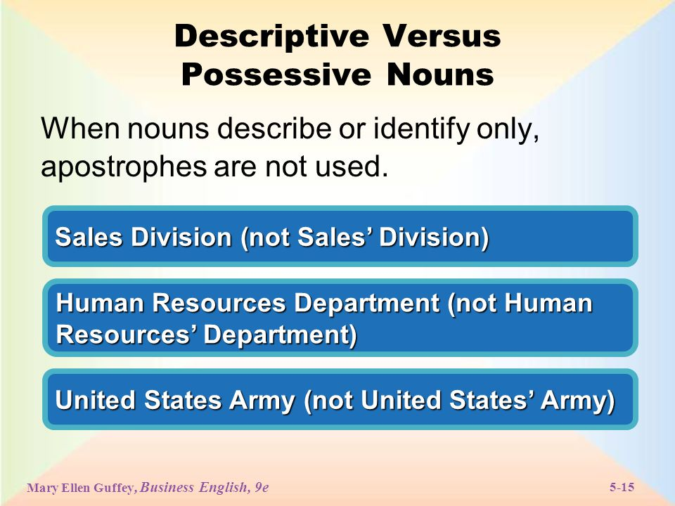 Mary Ellen Guffey, Business English, 9e 5-15 Descriptive Versus Possessive Nouns When nouns describe or identify only, apostrophes are not used.