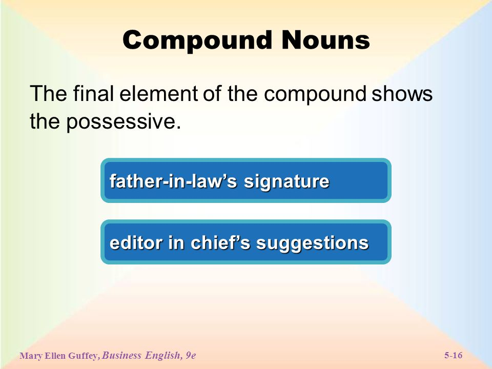Mary Ellen Guffey, Business English, 9e 5-16 Compound Nouns The final element of the compound shows the possessive.