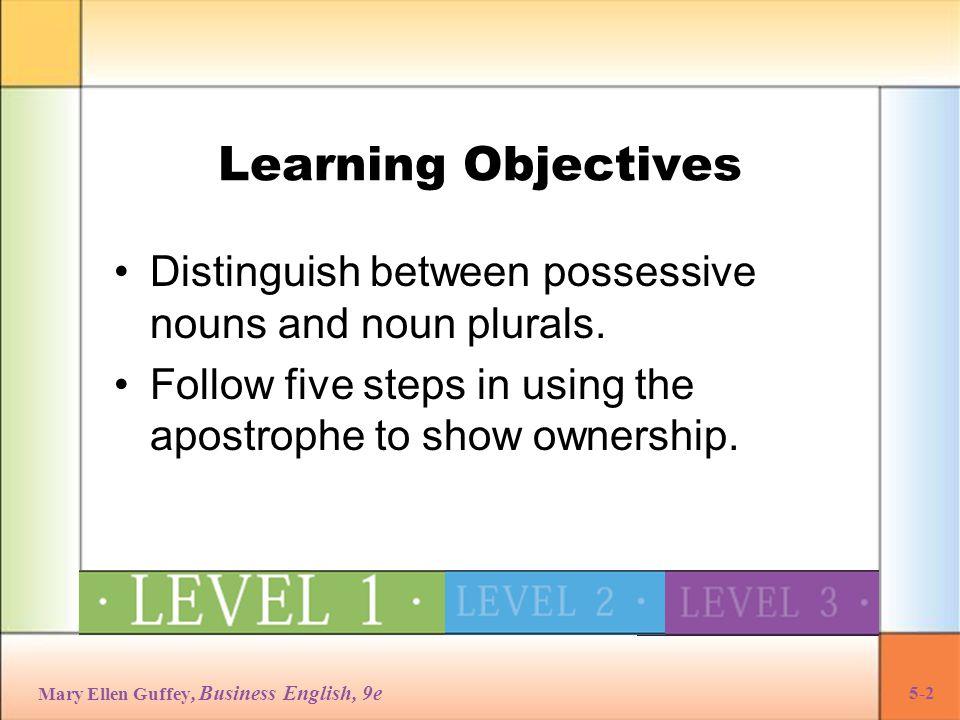 Mary Ellen Guffey, Business English, 9e 5-33 Making Difficult Proper Nouns Possessive Plural proper nouns are made possessive after the final s sound.