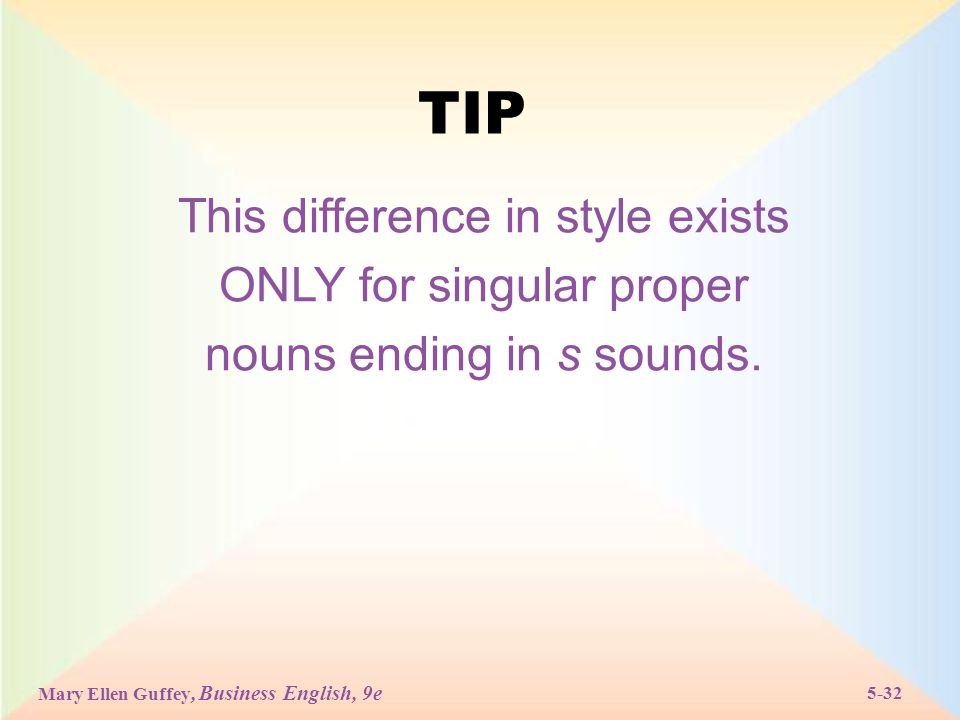 Mary Ellen Guffey, Business English, 9e 5-32 TIP This difference in style exists ONLY for singular proper nouns ending in s sounds.