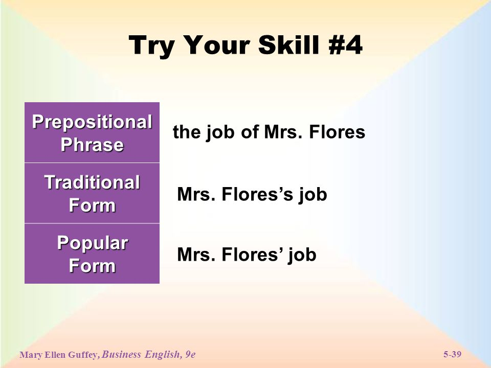 Mary Ellen Guffey, Business English, 9e 5-39 Try Your Skill #4 Prepositional Phrase Traditional Form PopularForm the job of Mrs.