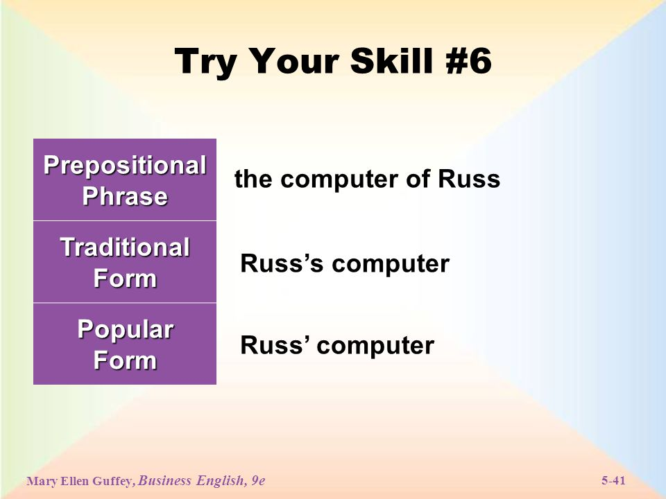Mary Ellen Guffey, Business English, 9e 5-41 Try Your Skill #6 Prepositional Phrase Traditional Form PopularForm the computer of Russ Russ's computer Russ' computer