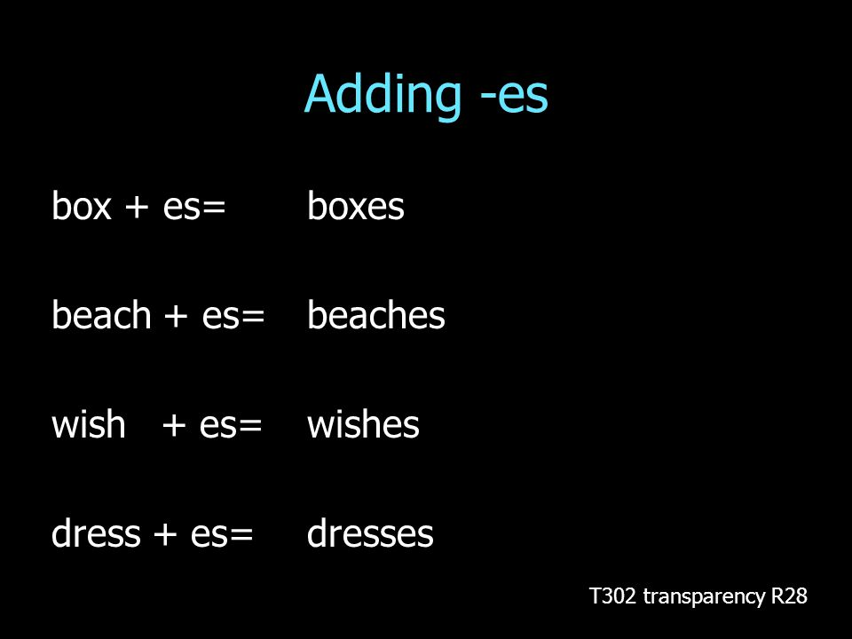 Adding -es box + es= boxes beach + es=beaches wish + es=wishes dress + es= dresses T302 transparency R28