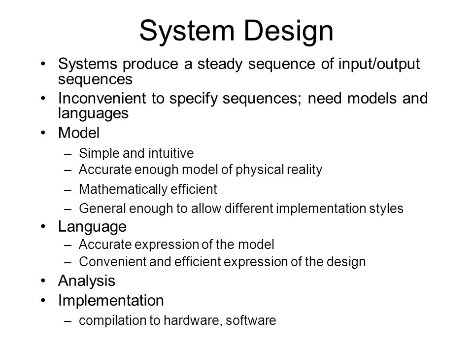 ECL Project ECL for system design –Done at Cadence Berkeley Laboratories –Many industrial partners –Used in one commercial product Language & Compilation Status