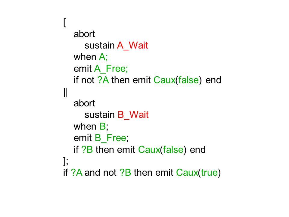 loop signal Caux : combine boolean with and in || end signal end loop