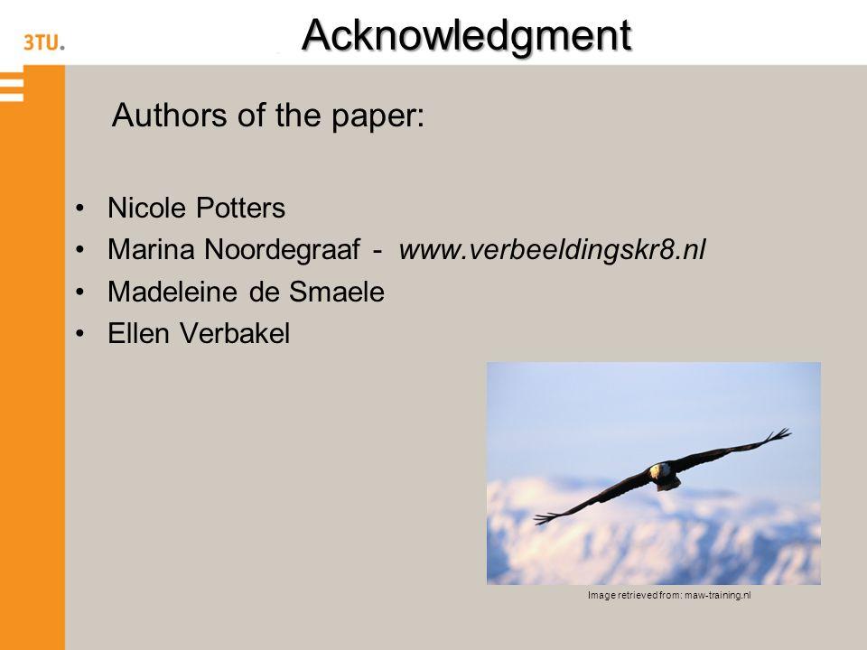 Acknowledgment Authors of the paper: Nicole Potters Marina Noordegraaf - www.verbeeldingskr8.nl Madeleine de Smaele Ellen Verbakel Image retrieved from: maw-training.nl