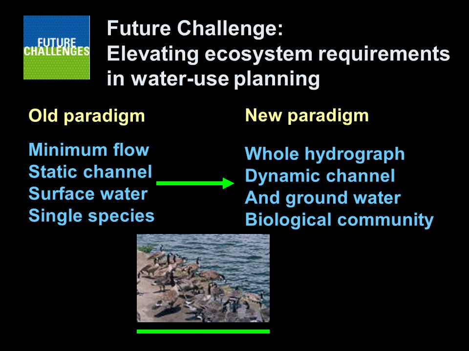 Future Challenge: Elevating ecosystem requirements in water-use planning Old paradigm Minimum flow Static channel Surface water Single species New paradigm Whole hydrograph Dynamic channel And ground water Biological community