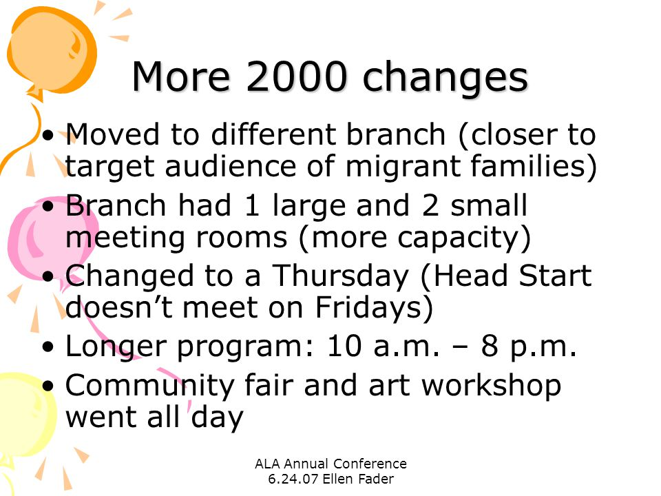 ALA Annual Conference 6.24.07 Ellen Fader More 2000 changes Moved to different branch (closer to target audience of migrant families) Branch had 1 large and 2 small meeting rooms (more capacity) Changed to a Thursday (Head Start doesn't meet on Fridays) Longer program: 10 a.m.