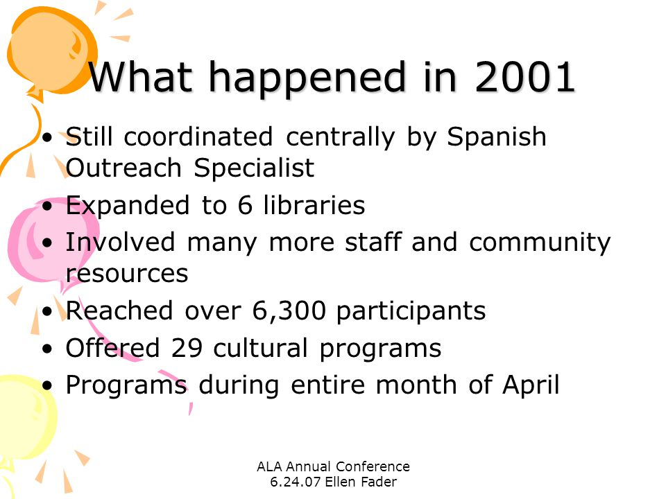 ALA Annual Conference 6.24.07 Ellen Fader What happened in 2001 Still coordinated centrally by Spanish Outreach Specialist Expanded to 6 libraries Inv