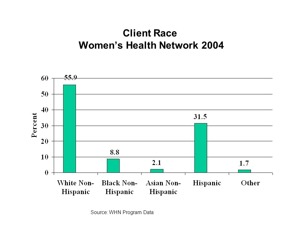 Client Race Women's Health Network 2004 Source: WHN Program Data