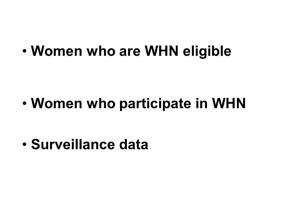 Women who are WHN eligible Women who participate in WHN Surveillance data