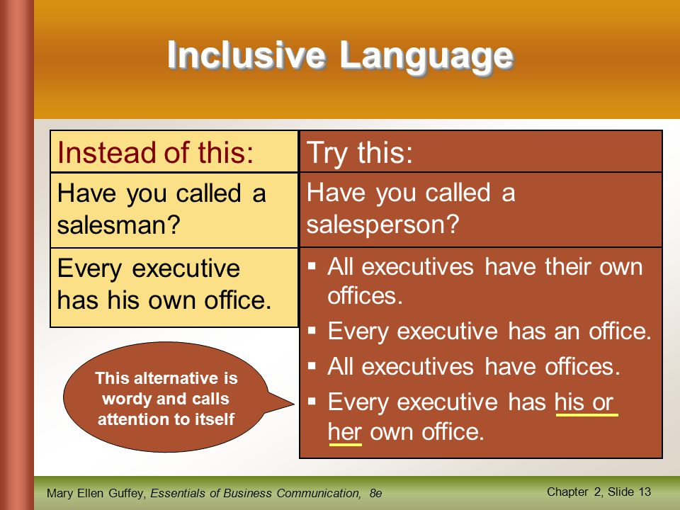 Mary Ellen Guffey, Essentials of Business Communication, 8e Chapter 2, Slide 13 Inclusive Language Have you called a salesman.