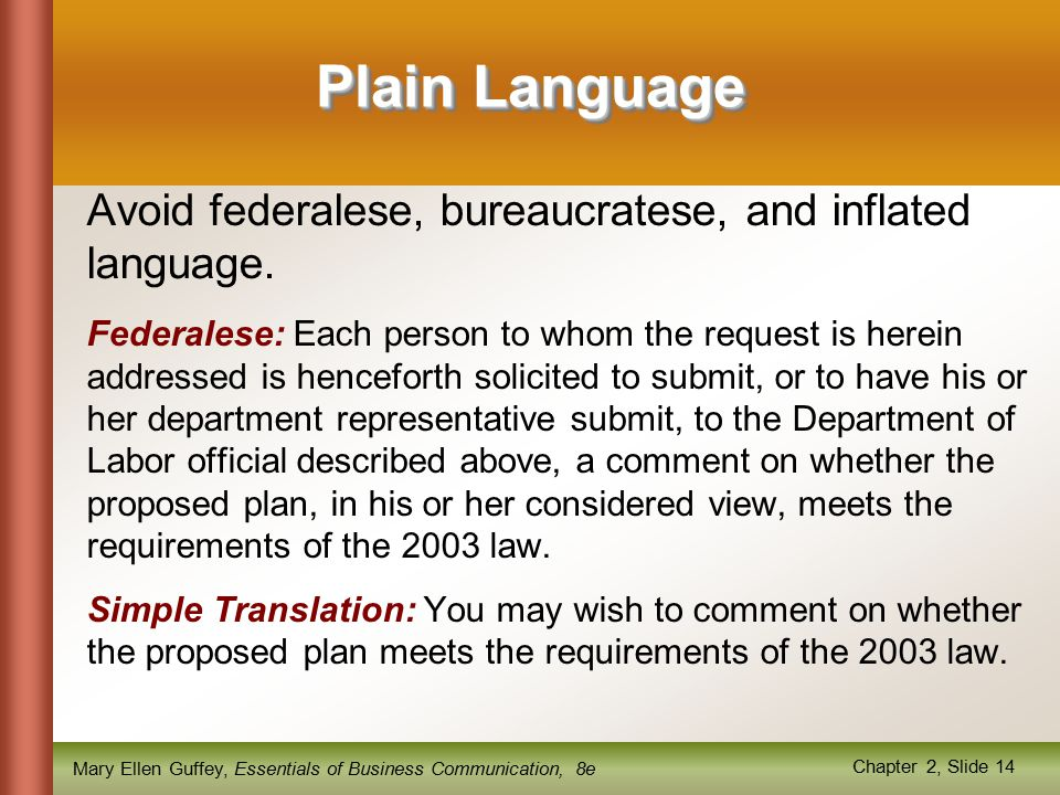 Mary Ellen Guffey, Essentials of Business Communication, 8e Chapter 2, Slide 14 Plain Language Avoid federalese, bureaucratese, and inflated language.